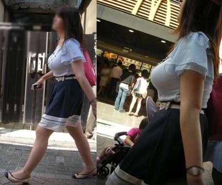 デカすぎ着衣巨乳おっぱいを街撮り-002