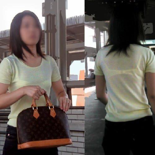 スケブラで下着が見えてる女子の素人エロ画像-081
