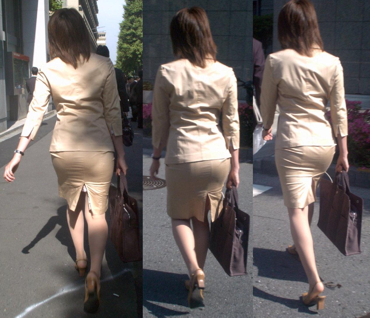 お尻と太ももがエッチなタイトスカート女子の素人エロ画像-011