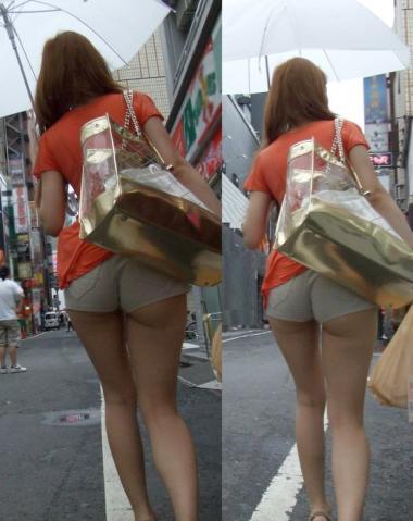 ショートパンツのハミ尻と生脚太ももの街撮りエロ画像014