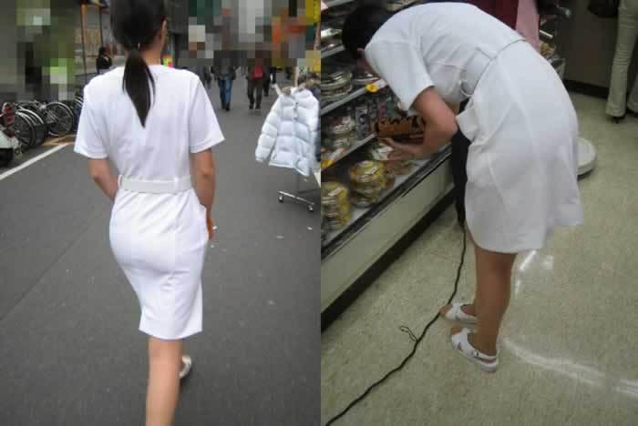白いナース服から透けパン透けブラしている素人エロ画像017