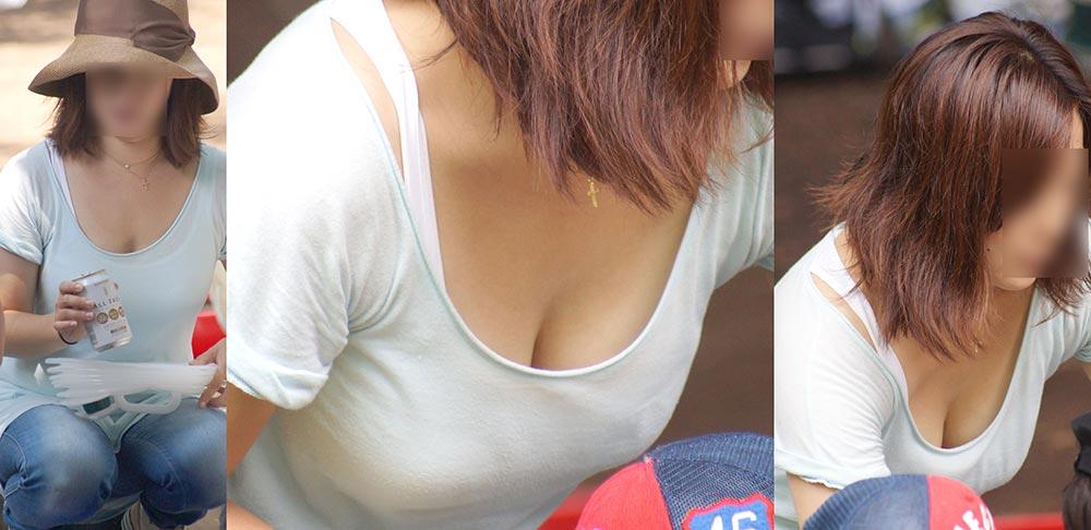 若ママの谷間エロ過ぎ胸チラおっぱいの素人画像4