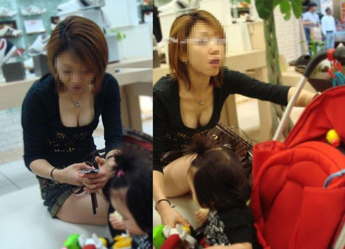 子連れ若ママの胸チラおっぱい素人エロ画像23