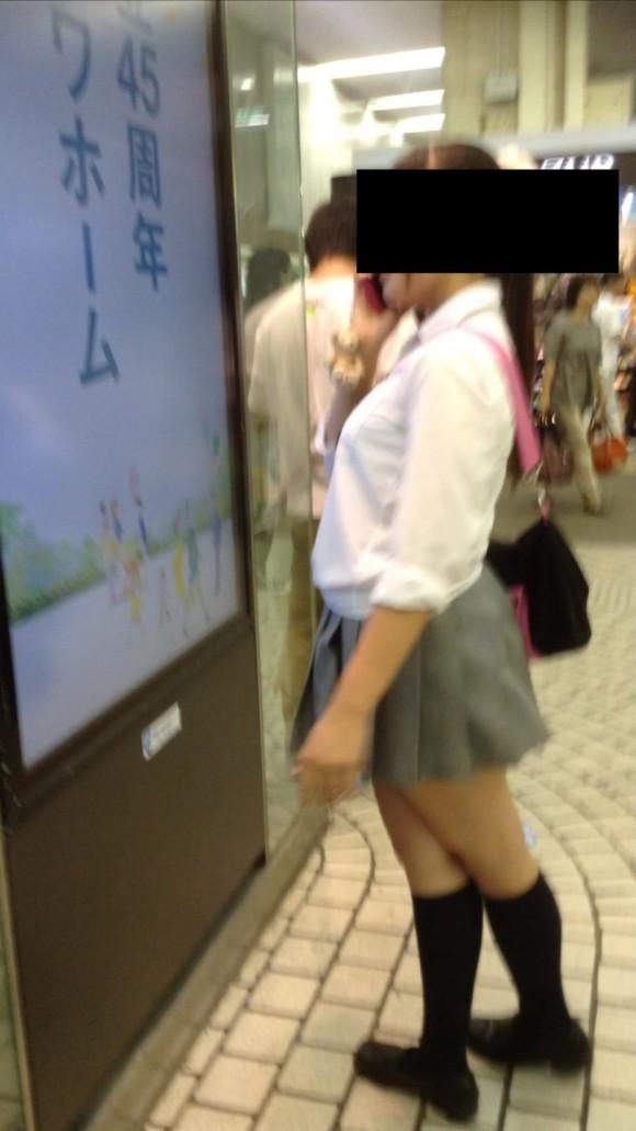 夏服女子校生の着衣巨乳おっぱいを街撮りした素人JKエロ画像7